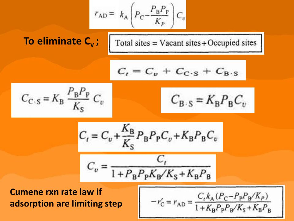 To eliminate Cv ; Cumene rxn rate law if adsorption are limiting step