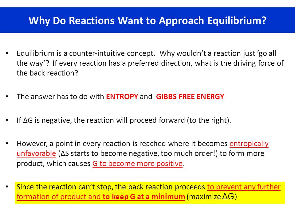 Why Do Reactions Want to Approach Equilibrium
