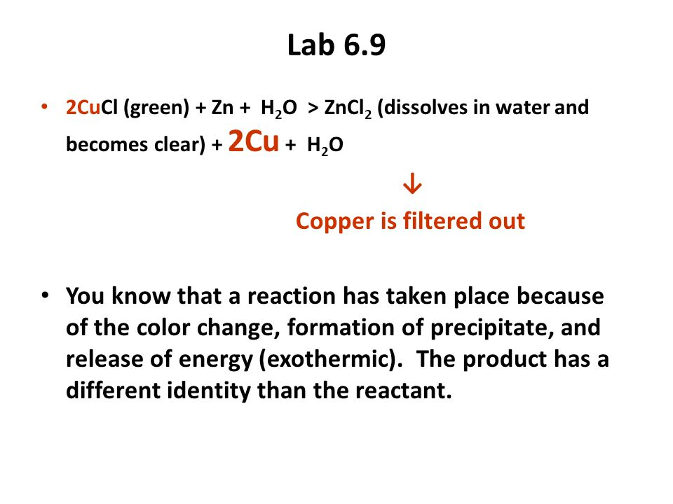 Lab 6.9 ↓ Copper is filtered out