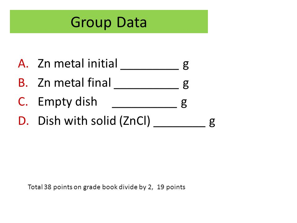 Group Data Zn metal initial _________ g Zn metal final __________ g