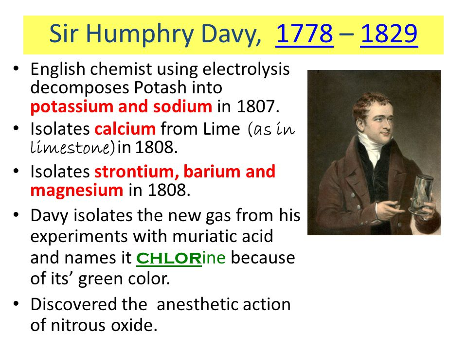 Sir Humphry Davy, 1778 – 1829 English chemist using electrolysis decomposes Potash into potassium and sodium in 1807.