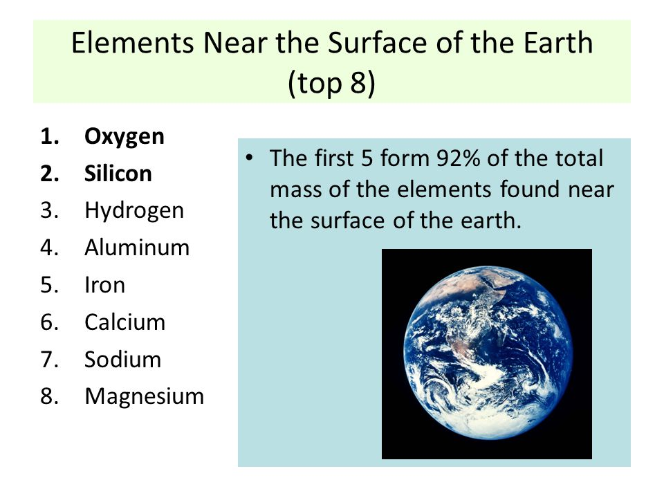 Elements Near the Surface of the Earth (top 8)