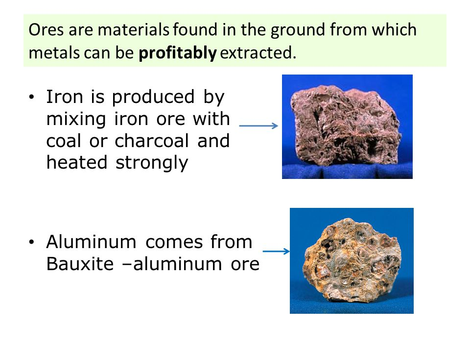 Ores are materials found in the ground from which metals can be profitably extracted.