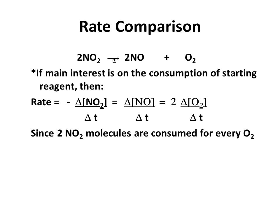 Rate Comparison 2NO2  2NO + O2. *If main interest is on the consumption of starting reagent, then: