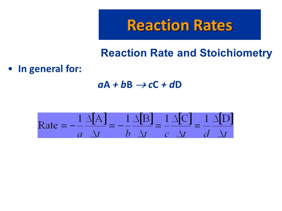 Reaction Rates Reaction Rate and Stoichiometry In general for: