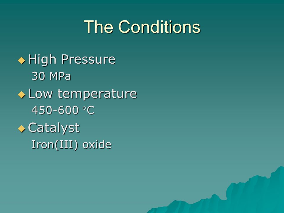 The Conditions High Pressure Low temperature Catalyst 30 MPa