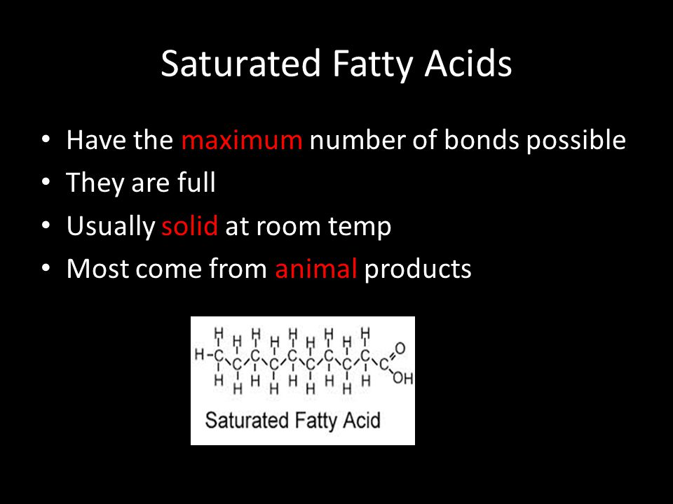 Saturated Fatty Acids Have the maximum number of bonds possible