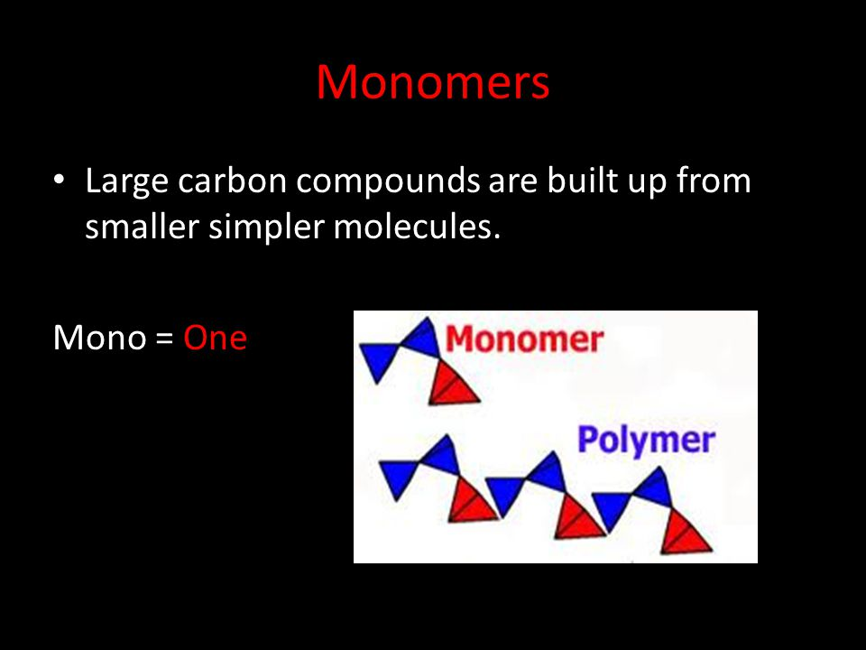 Monomers Large carbon compounds are built up from smaller simpler molecules. Mono = One
