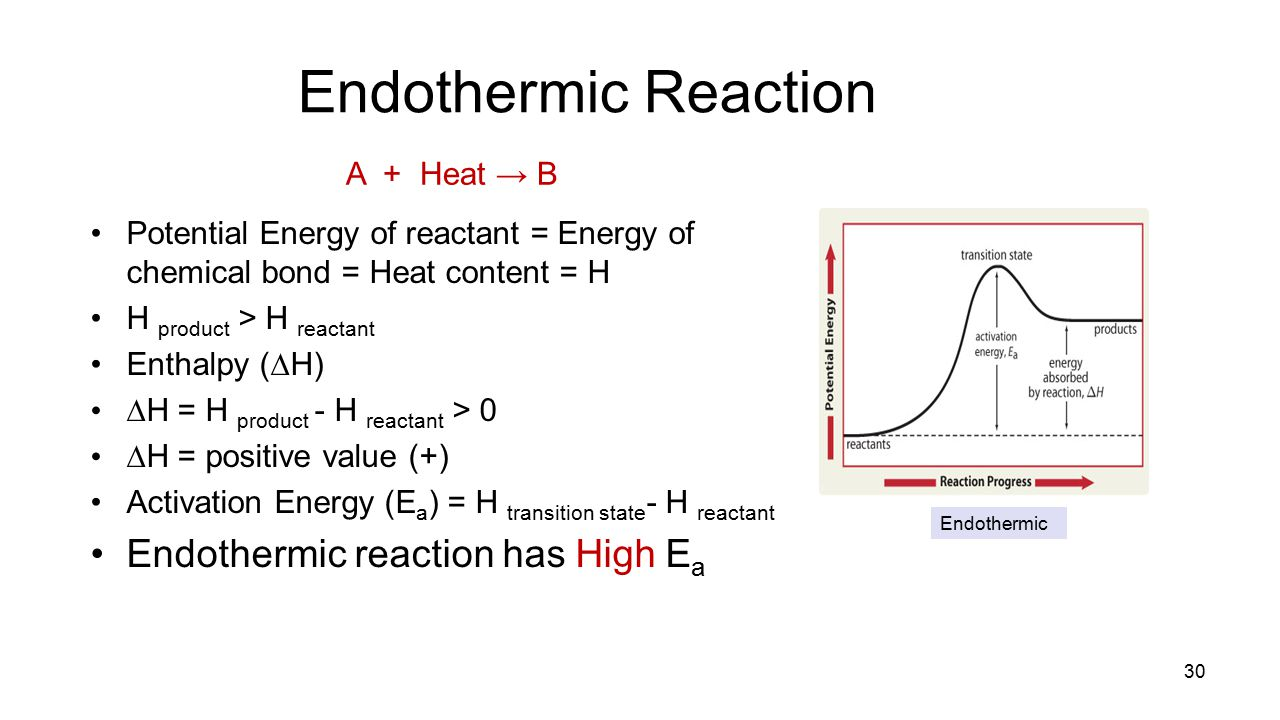 Endothermic Reaction A + Heat → B Endothermic reaction has High Ea