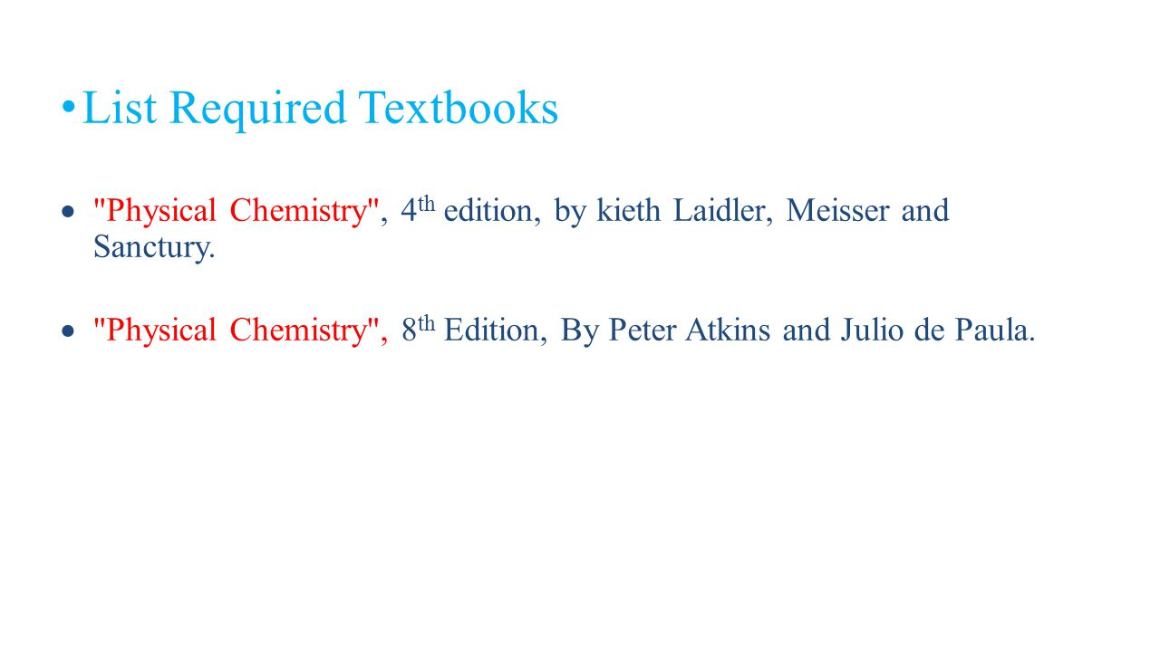 List Required Textbooks
