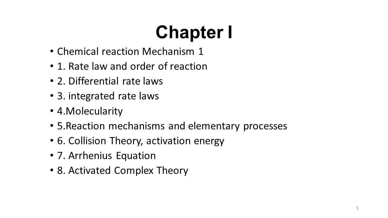 Chapter I Chemical reaction Mechanism 1