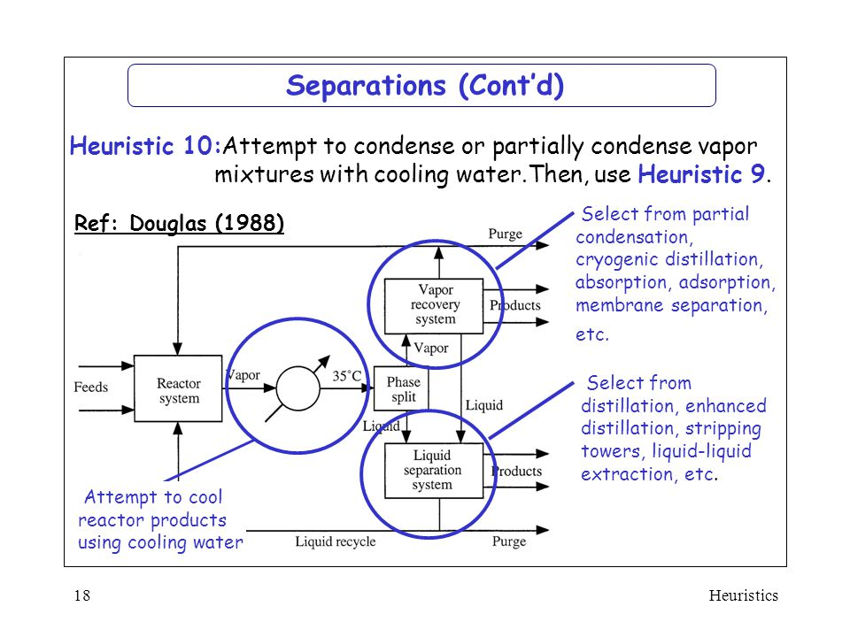 Separations (Cont'd) Attempt to condense or partially condense vapor mixtures with cooling water.Then, use Heuristic 9.