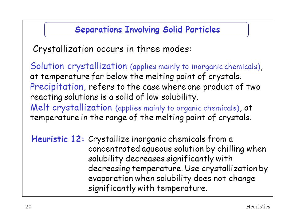 Separations Involving Solid Particles