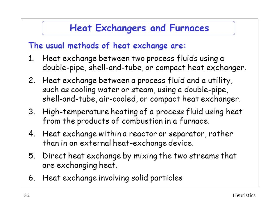 Heat Exchangers and Furnaces