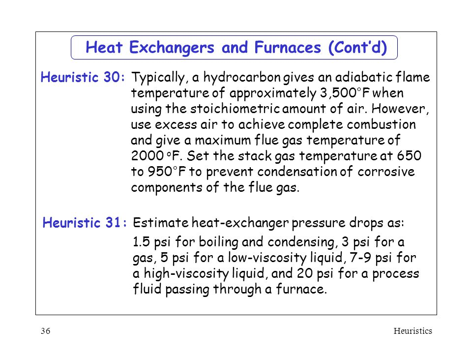 Heat Exchangers and Furnaces (Cont'd)
