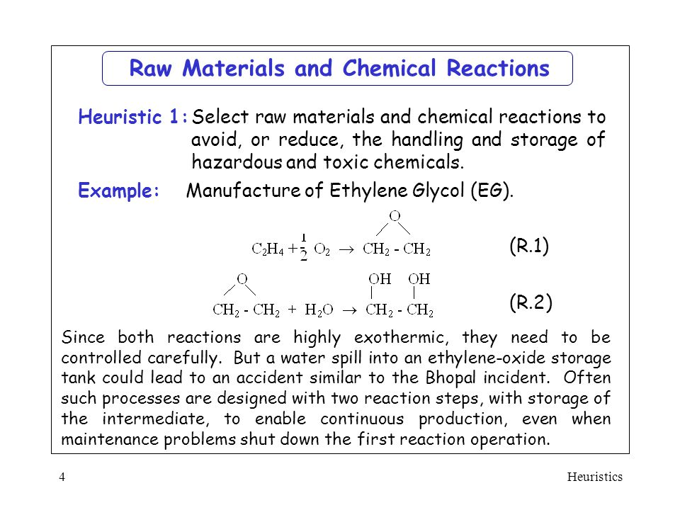 Raw Materials and Chemical Reactions