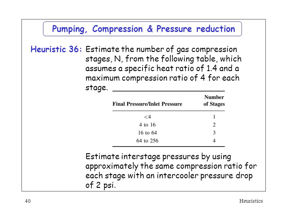 Pumping, Compression & Pressure reduction