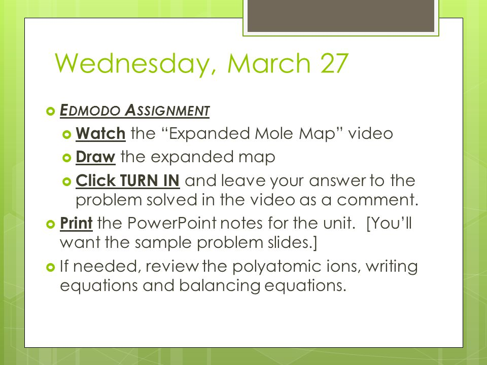 Wednesday, March 27 Edmodo Assignment