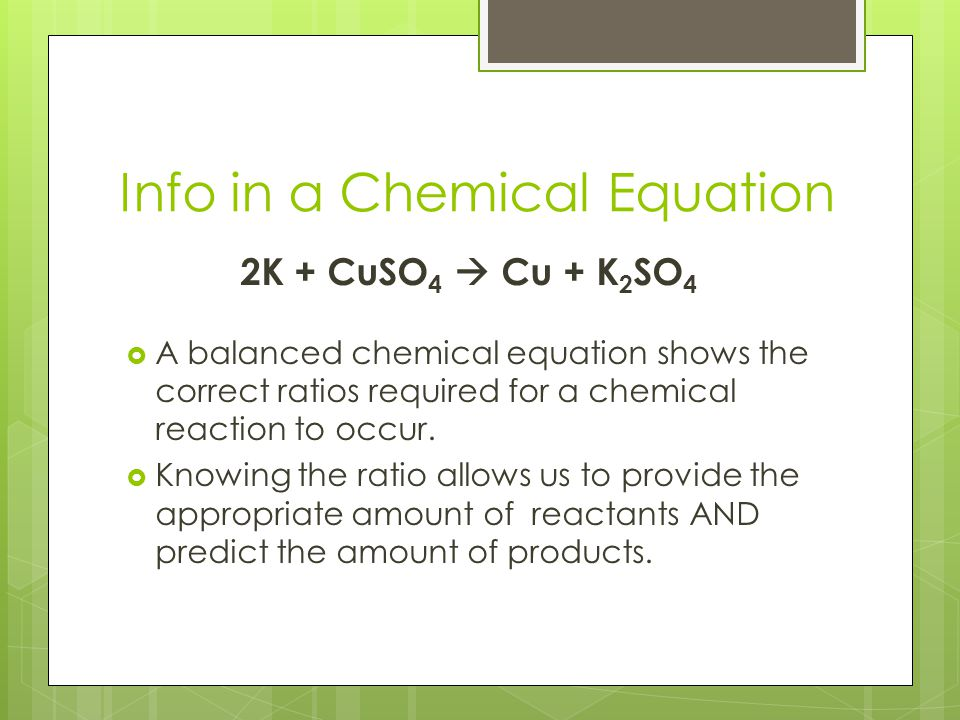 Info in a Chemical Equation