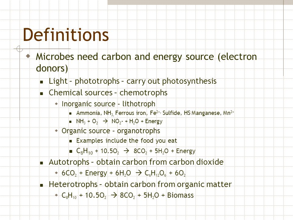 Definitions Microbes need carbon and energy source (electron donors)