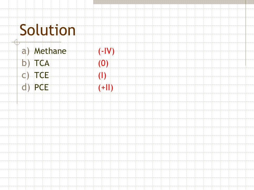 Solution Methane (-IV) TCA (0) TCE (I) PCE (+II)