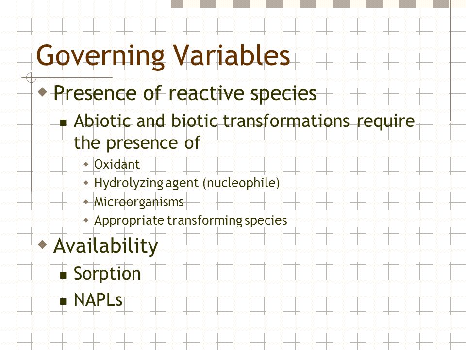 Governing Variables Presence of reactive species Availability