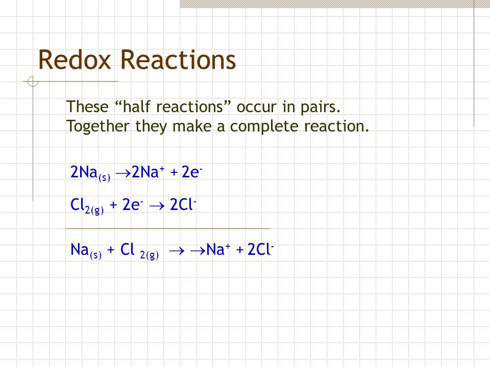 Redox Reactions These half reactions occur in pairs.
