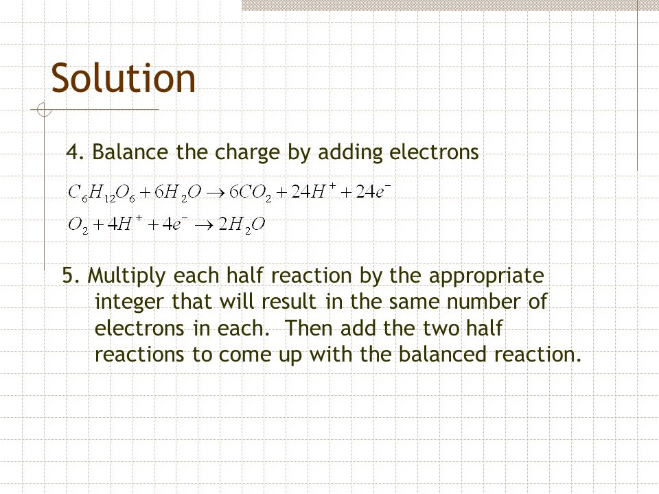 Solution 4. Balance the charge by adding electrons