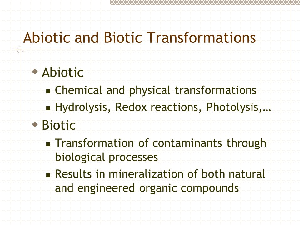 Abiotic and Biotic Transformations