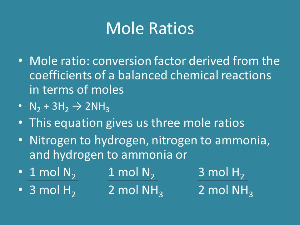 Mole Ratios Mole ratio: conversion factor derived from the coefficients of a balanced chemical reactions in terms of moles.