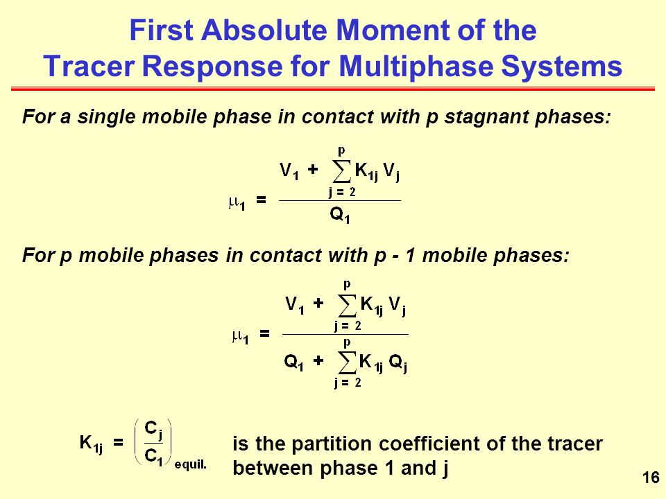First Absolute Moment of the Tracer Response for Multiphase Systems