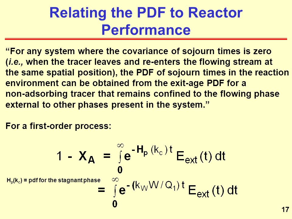 Relating the PDF to Reactor Performance