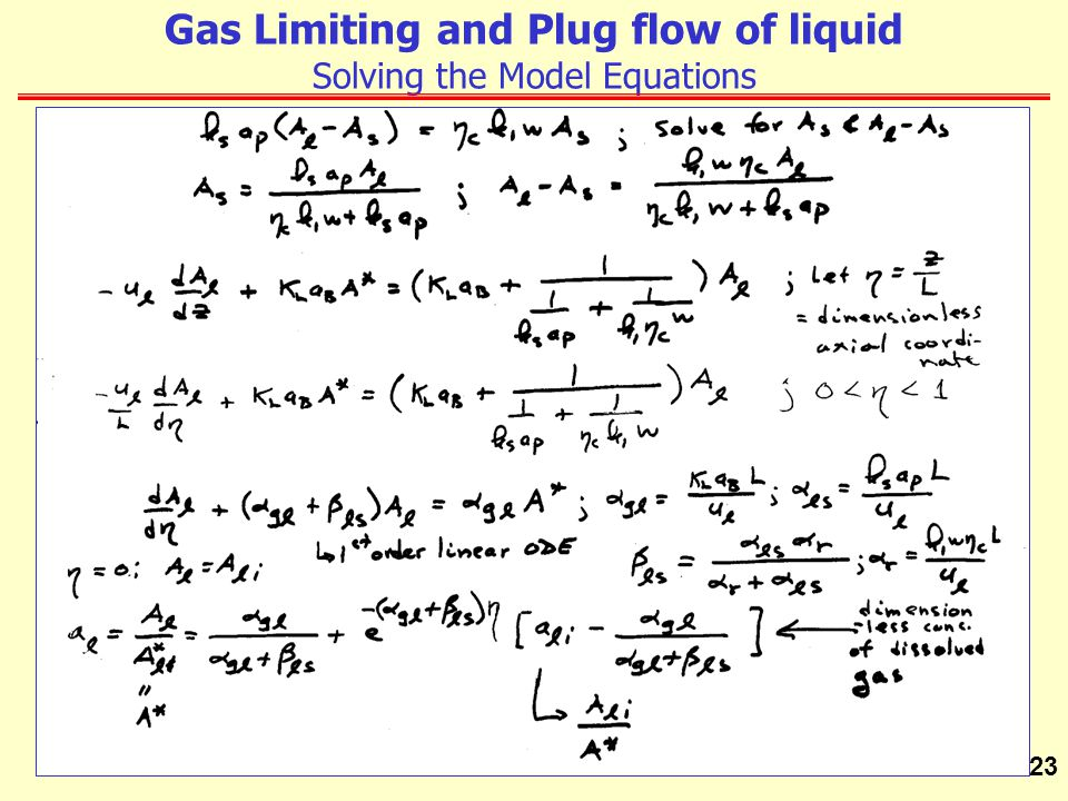 Gas Limiting and Plug flow of liquid Solving the Model Equations