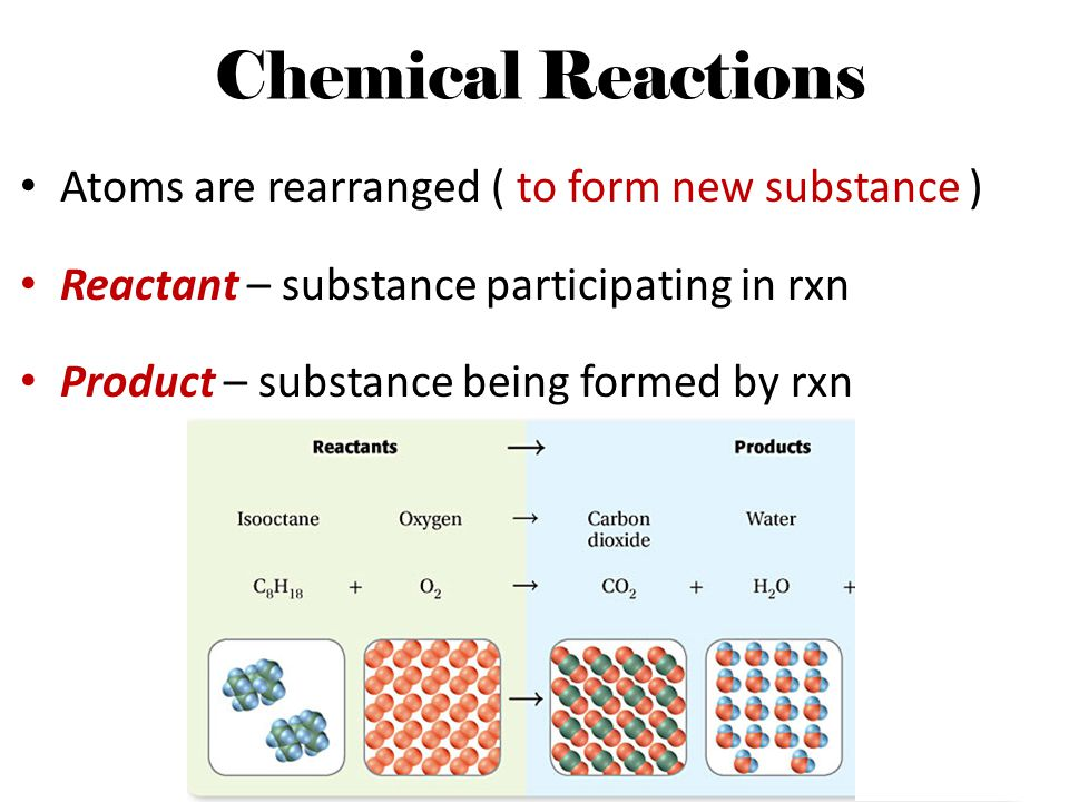 Chemical Reactions Atoms are rearranged ( to form new substance )