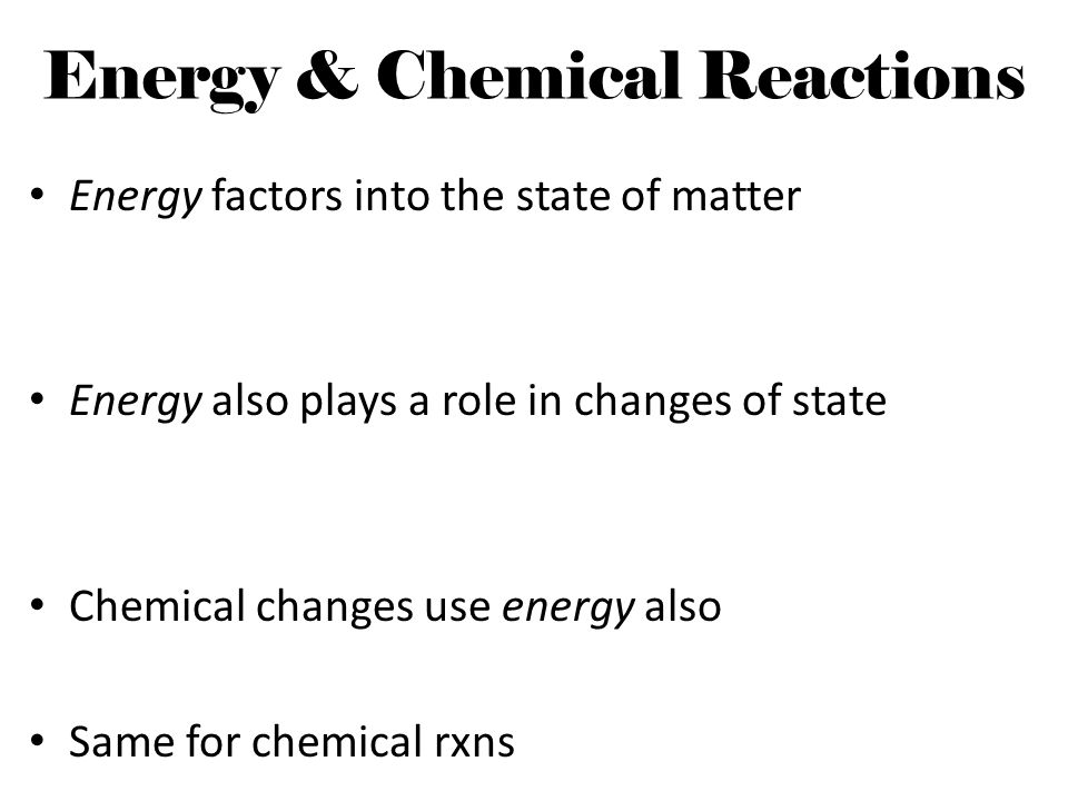 Energy & Chemical Reactions