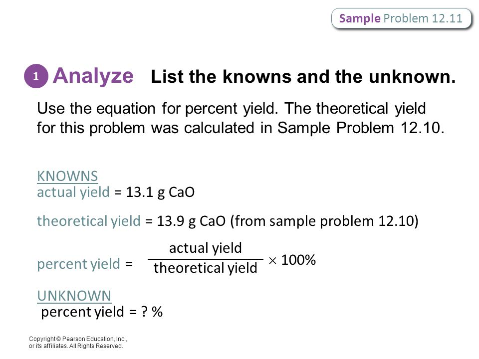 Analyze List the knowns and the unknown.