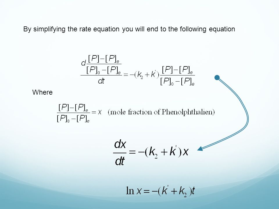 By simplifying the rate equation you will end to the following equation