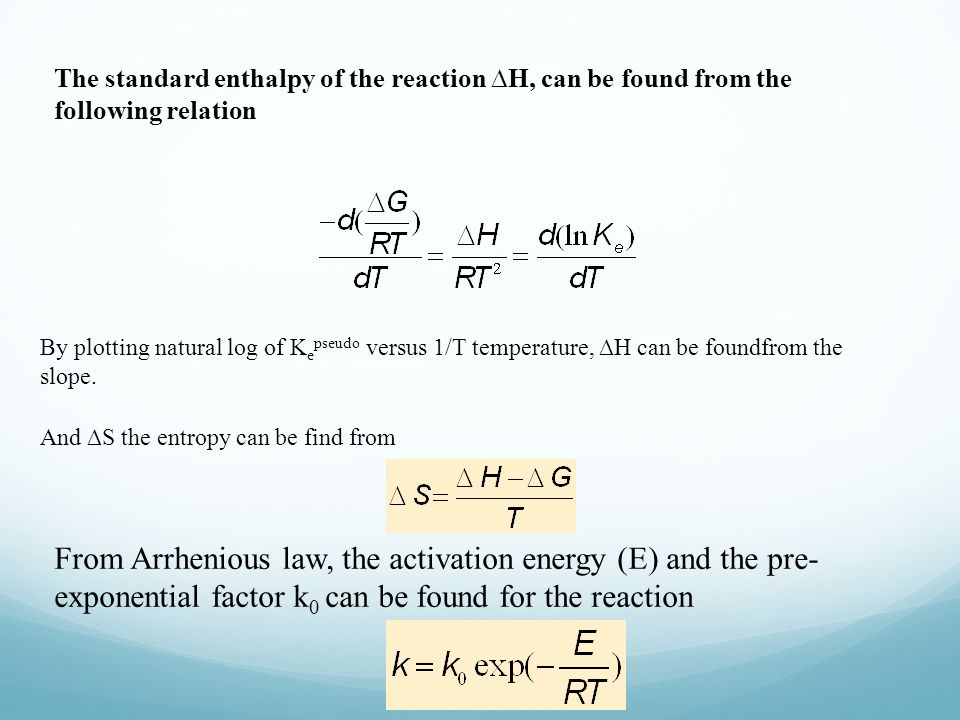 The standard enthalpy of the reaction ∆H, can be found from the following relation
