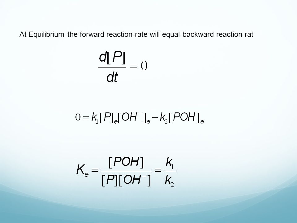 At Equilibrium the forward reaction rate will equal backward reaction rat