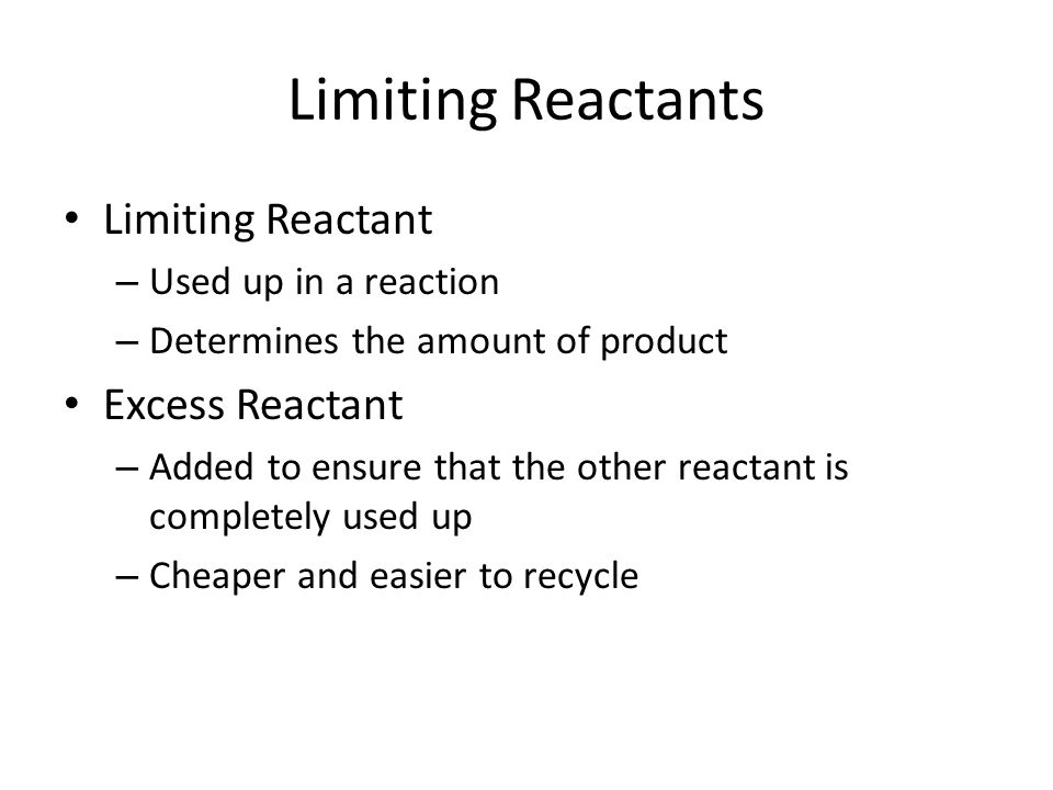 limiting reactants So, o2 is the limiting reagent step 4 - figure out how much of each product forms (which are you asked about) o2 is the limiting reagent, so we consume all 015625 mol of it.