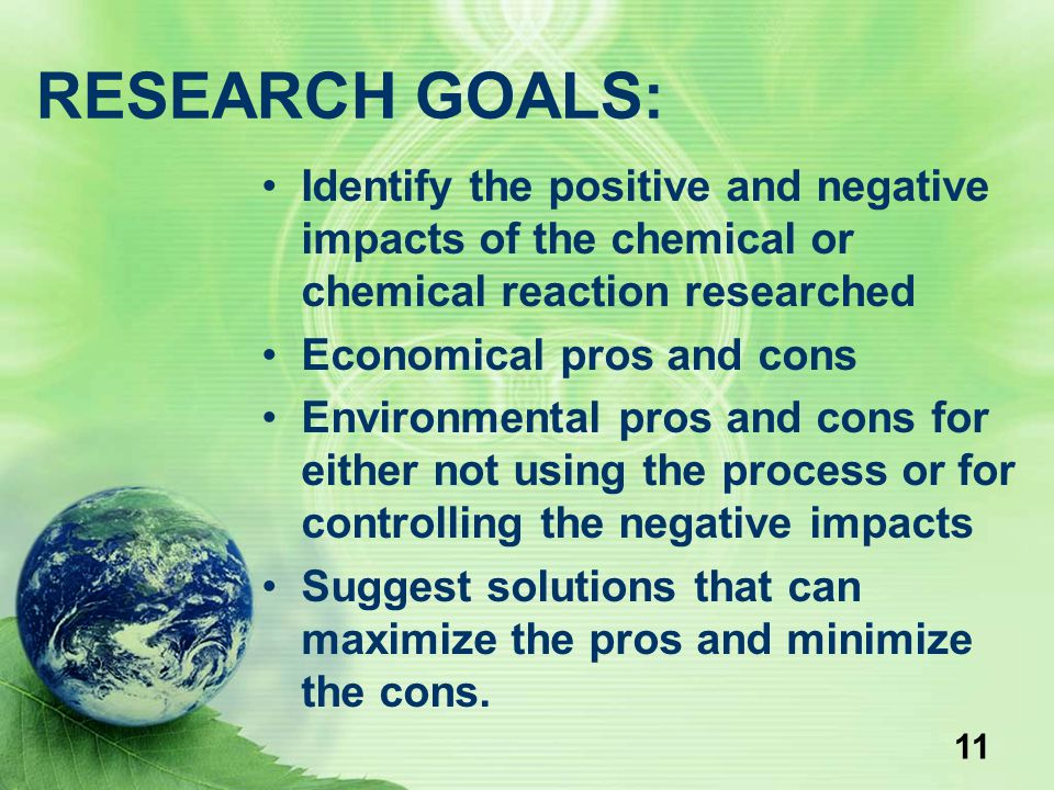 RESEARCH GOALS: Identify the positive and negative impacts of the chemical or chemical reaction researched.