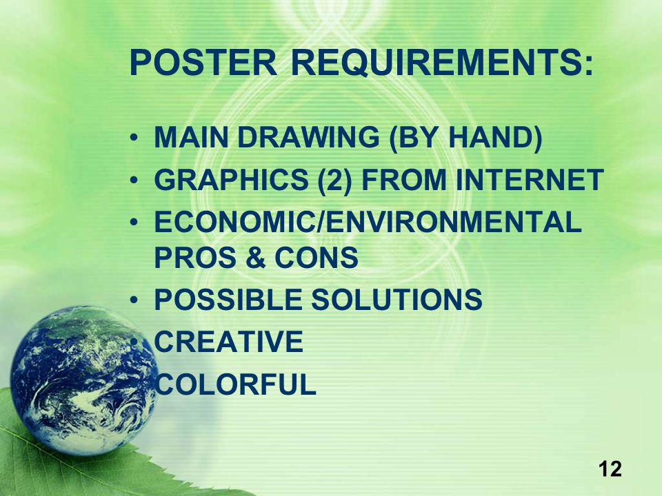 POSTER REQUIREMENTS: MAIN DRAWING (BY HAND) GRAPHICS (2) FROM INTERNET