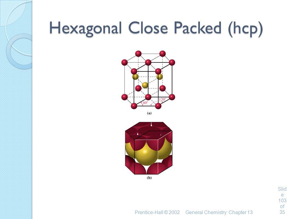 Hexagonal Close Packed (hcp)