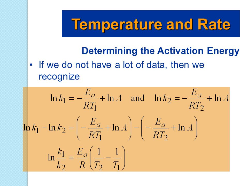 Temperature and Rate Determining the Activation Energy