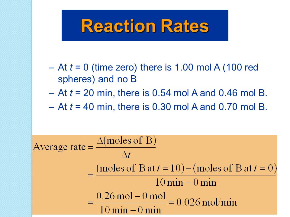 Reaction Rates At t = 0 (time zero) there is 1.00 mol A (100 red spheres) and no B. At t = 20 min, there is 0.54 mol A and 0.46 mol B.