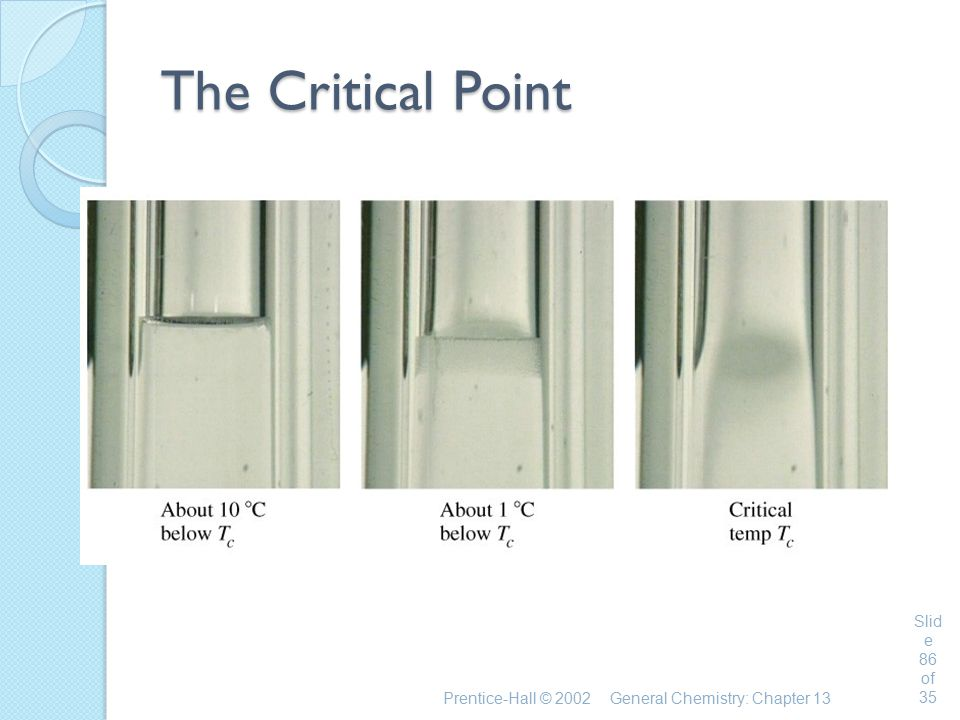 The Critical Point Prentice-Hall © 2002 General Chemistry: Chapter 13