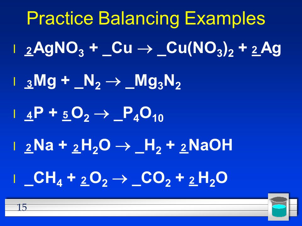 Practice Balancing Examples