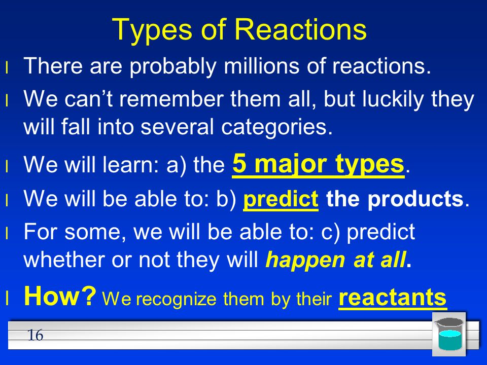 Types of Reactions How We recognize them by their reactants