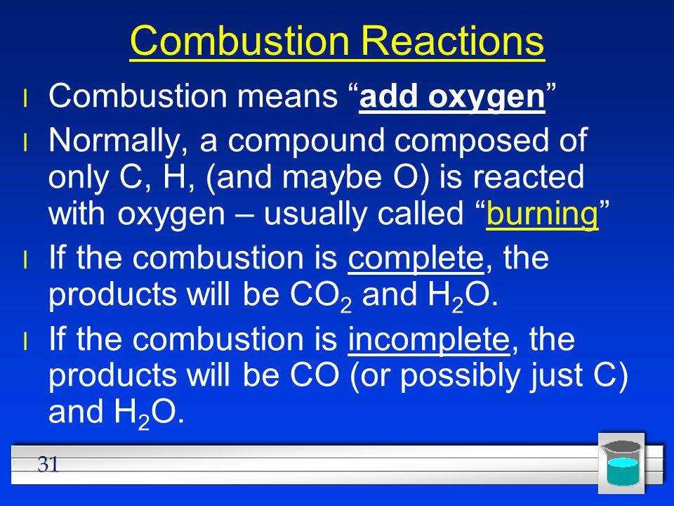 Combustion Reactions Combustion means add oxygen