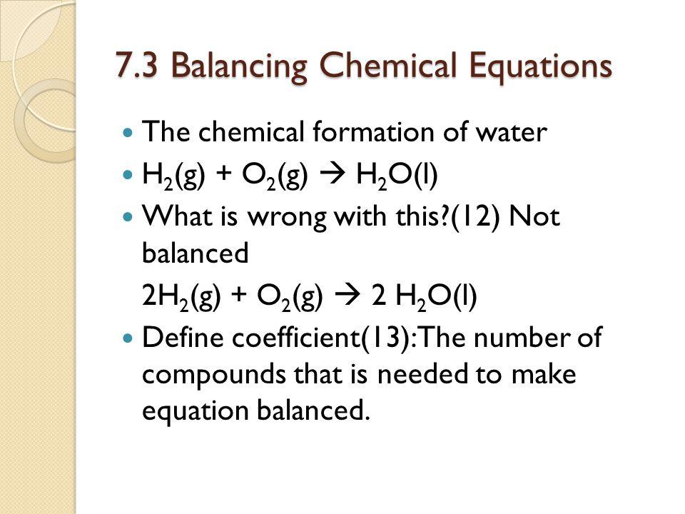 7.3 Balancing Chemical Equations